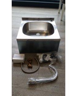 Magazijn opruiming - RVS Wastafel met kniebediening