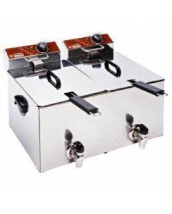 Diamond elektrische friteuse tafelmodel 2x 8 liter incl. aftapkraan