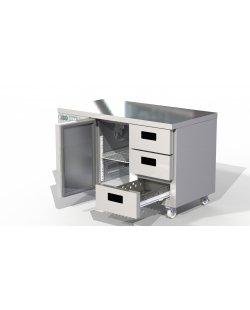 Foster Xtra 1/2 koelwerkbank 280 liter met 1 deur en 3 lades