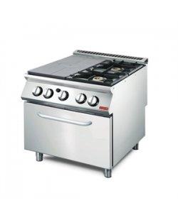 GastroM Platen fornuis met 2 branders en gas oven 700 lijn