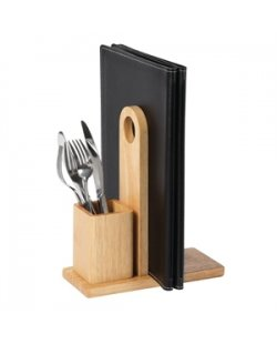Olympia houten menuhouder met bestekhouder