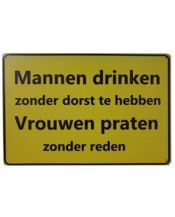 Mannen drinken vrouwen praten reclamebord