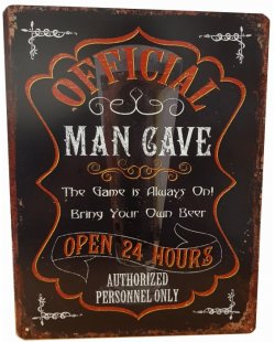 Official man cave reclamebord