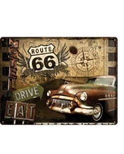 Route 66 reclamebord Eat&Drive
