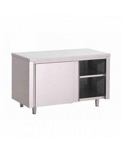 RVS Werktafel met schuifdeuren 800 diep