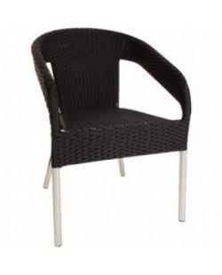 Showroom model Bolero kunststof rotan stoel zwart 4x op voorraad