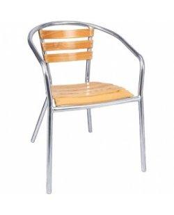Essenhouten terrasstoel met of zonder armleuning (per 4)