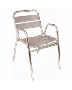 Aluminium terrasstoel met armleuning (per 4)