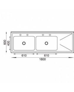 RVS Spoeltafel 1800x600x900