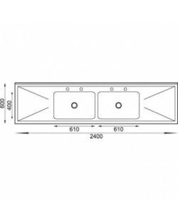 RVS Spoeltafel 2400x600x900