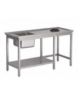 RVS Aanvoer tafel met vuilgat en 1/2 onderschap