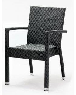 Kunststof rotan terrasstoel met armleuning zwart (per 4)