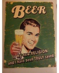 Bier religion metalen pubbord