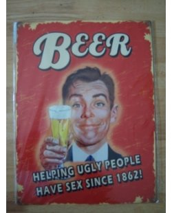 Bier ugly people metalen pubbord