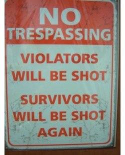No trespassing metalen pubbord