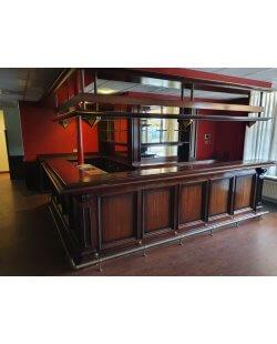Prachtige massief houten mahonie bar incl. achterkast