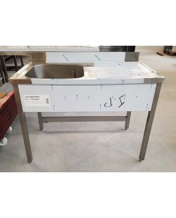 Magazijn opruiming: RVS Spoeltafel Afm. 1200x700x900mm