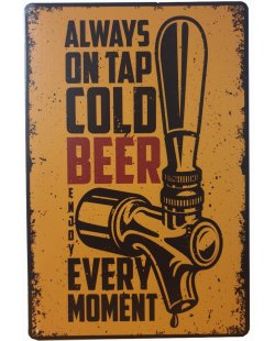 Always on tap cold beer reclamebord