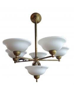 Showroommodel: Antiek messing hanglamp met 6 schalen