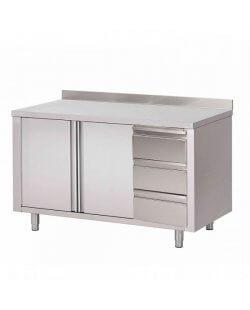 RVS Werktafel met schuifdeuren, lades en opstaande rand