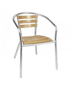 Magazijnopruiming: Bolero aluminium en essenhouten stoelen met armleuning