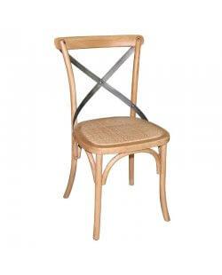 Magazijnopruiming: Bolero houten stoel met gekruiste rugleuning naturel