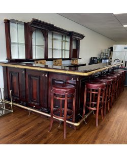 Massief houten mahonie bar incl. achterkast