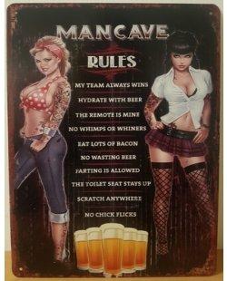 Mancave rules reclamebord