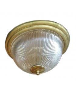 Showroommodel: Plafondlamp antiek messing met ribglas