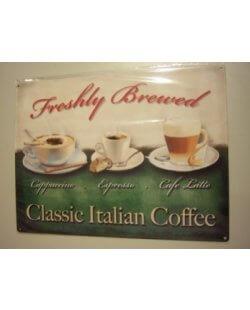 Classic Italian coffee metalen reclamebord