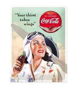 Coca Cola Takes Wings Lady reclamebord