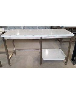 Magazijn opruiming: RVS Werktafel half open bodemschap Afm.1700x700x900